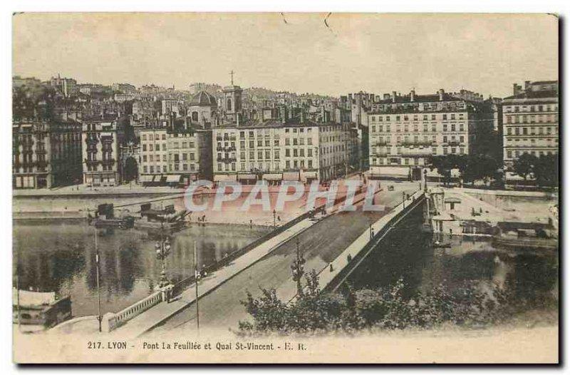 Old Postcard Lyon Bridge Feullee and the Quai St Vincent