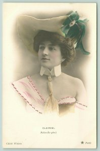 RPPC~Lovely Lady w/Emerald Bow Hat~Pink Off One Shoulder Gown~Detached Collar