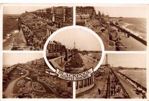 Blackpool North Shore Promenade Rockery Gardens Panorama Postcard
