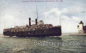 Steamer City Of Chicago, Chicago, Illinois, IL USA Steam Ship 1909 light wear...