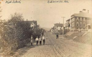 Ridlonville ME Dirt Street View High School Children in 1910 RPPC Postcard