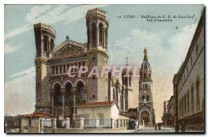 Old Postcard Lyon Basilica of Our Lady of Fourviere Overview