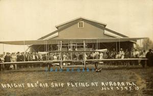 1910 Aurora IL Real Photo Postcard: Wright Brothers Air Ship - Sharp & Rare!
