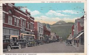 SALIDA , Colorado, PU-1936 ; F Street And Mt. Tenderfoot