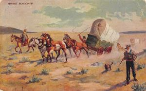 John Innes~Cowboy Western Artist~Prairie Schooner~Covered Wagon Train~1908