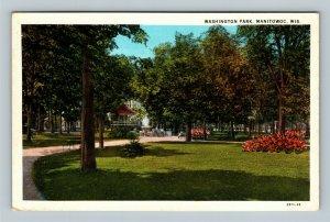 Manitowoc WI, Washington Park, Gazebo, Scenic Gardens, Linen Wisconsin Postcard