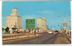 Highway US 60 Grain Elevators Texaco Mobil Clovis New Mexico postcard