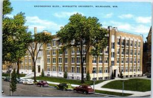 Milwaukee, Wisconsin Postcard Engineering Building, MARQUETTE UNIVERSITY Linen