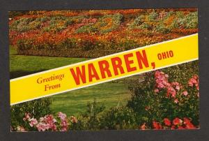 OH Greetings from WARREN OHIO Postcard PC Flowers Striped Banner Carte Postale