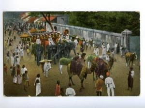 147411 INDIA Idol procession CAMELS elephants Vintage postcard