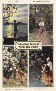 Winona Lake Indiana~Chicago Boys' Club Camp~Fishing-Playing Trumpet-on Path~'40s