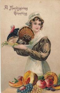 THANKSGIVING Greetings; 1910; Wild Turkey on a platter, fruits on a table