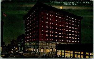 Toledo, Ohio Postcard SECOR HOTEL Toledo's Finest Hotel, by Night 1913 Cancel