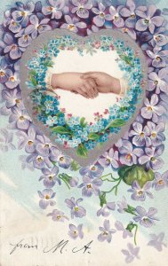 HANDS, PU-1906; Forget-Me-Nots & Violets, Silver detail