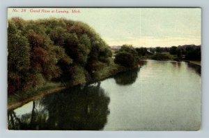 Lansing MI, Grand River, Vintage Michigan Postcard