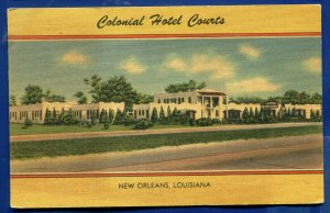 Colonial Hotel Courts New Orleans Louisiana la old linen Postcard