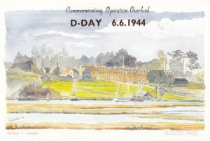 Bucklers Hard Hampshire Village in WW2 1944 D Day Painting Postcard
