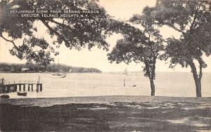 Shelter Island Hts New York boats pier from Deering Harbor antique pc ZA440668