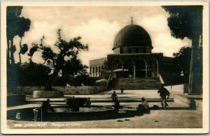 Vintage JERUSALEM Israel RPPC Photo Postcard Mosque of Omar Fountain Scene