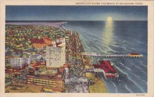 Texas Galveston Along The Beach By Moonlight 1940 Curteich