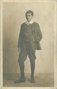 Early photo postcard social history elegant young boy studio Carling