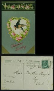 Valentine bluebird, heart novelty textured metallic 1908