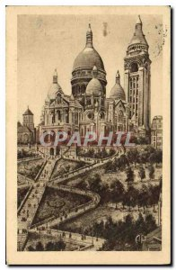 Old Postcard Paris Sacre Coeur Basilica with the Monumental Staircase