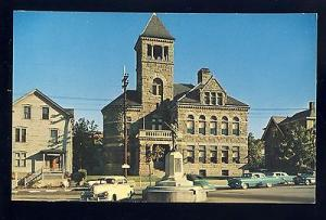 Woonsocket, Rhode Island/RI Postcard, Court House & Civil War Monument,Old Cars