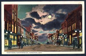 Tuscarawas Avenue @ Nite Barberton Ohio used c1915