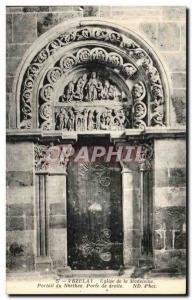 Postcard Old Vezelay Madeleine Church Portal Narthex door right