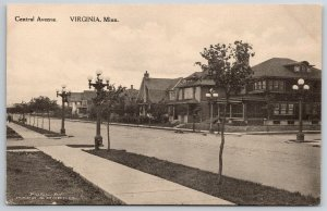 Virginia Minnesota~Nice Homes on Central Avenue (Now S 5th Ave) c1910 Postcard