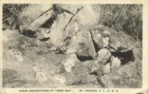 u.s. virgin islands, St. THOMAS, Carib Inscriptions at Reef Bay (1930s)