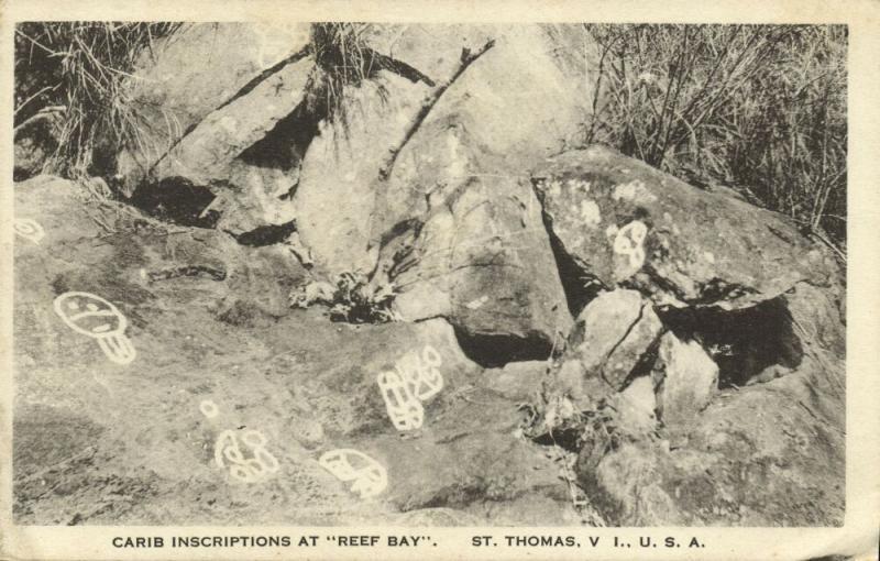 u.s. virgin islands, St. THOMAS, Carib Inscriptions at Reef Bay (1930s)