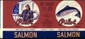 PILOT brand SALMON - 1930s era / CAN LABEL / Vancouver CANADA - 10 x 4