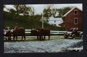 Ox Oxen Oxomobile Team pulling Old CAR UDB Postcard