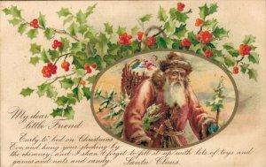 Santa Claus With Mistletoe Vintage Postcard 04.02
