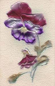 Embossed, Multi-colored Pansy, 00-10s