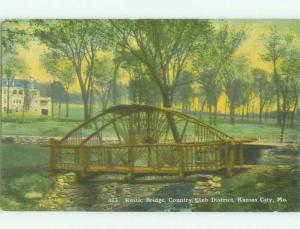 Unused Divided-Back BRIDGE SCENE Kansas City Missouri MO HJ0430