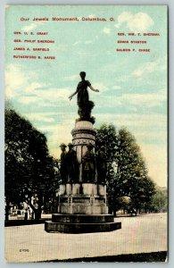 Columbus Ohio~Our Jewels Monument~US Grant~Sheridan~Garfield~Hayes~Stanton~c1910