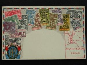 DAHOMEY Benin Philately STAMPS, MAP & HERALDIC ARMS c1910 Embossed Postcard