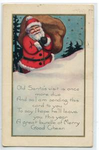 Santa Toy Bag Merry Xmas Christmas Holiday Greetings 1922 postcard