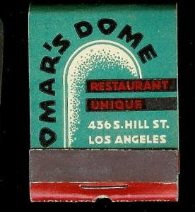OMARS DOME RETAURANT 1940's Full Unstruck Matchbook