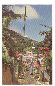 Crystal Gade, Charlotte Amalie, Street Scene, St. Thomas, Virgin Islands, 40-60s