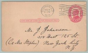 Ossining NY Postal~Near Mint 1912 Postmark~Complete Flag Cancel #1~NYC Johanson