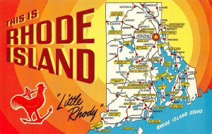LPM40 Rhode Island Map Chrome Postcard Little Rhody