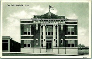 Humboldt, Tennessee Postcard CITY HALL Building / Street View Curteich c1930s
