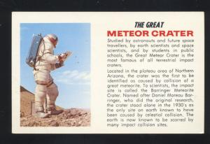 ROUTE 66 NORTHERN ARIZONA THE GREAT METEOR CRATER ASTRONAUT POSTCARD