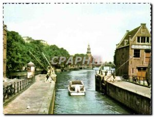 Postcard Modern Amsterdam Sint Anthonie sluiz Locks Lock Schleuse