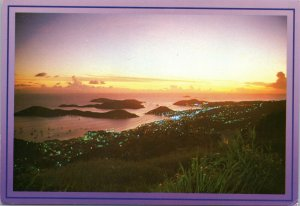 postcard Virgin Islands - Charlotte Amalie Harbor at twilight