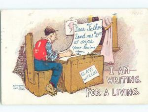 Pre-1907 comic WRITING FOR A LIVING - LETTER REQUESTS MONEY k3209